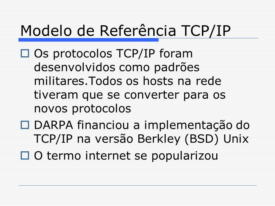  Os protocolos TCP/IP foram desenvolvidos como padrões militares.Todos os hosts na rede tiveram que se converter para os novos protocolos  DARPA financiou a implementação do TCP/IP na versão Berkley (BSD) Unix  O termo internet se popularizou Modelo de Referência TCP/IP