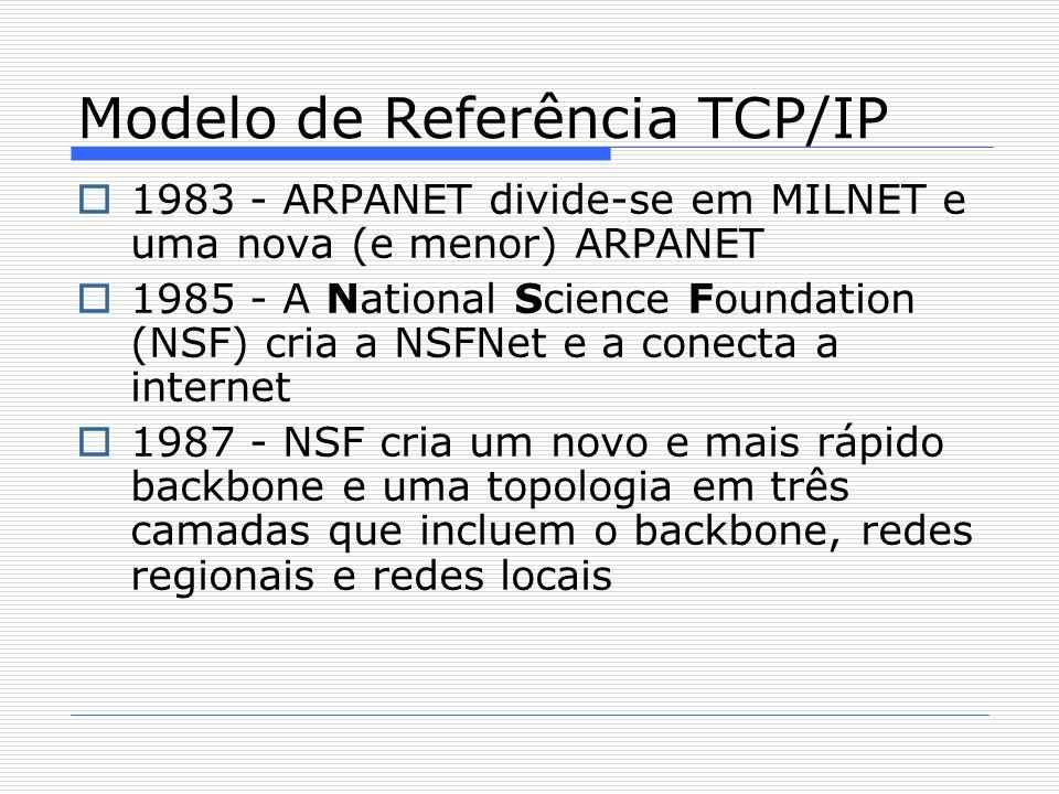  1983 - ARPANET divide-se em MILNET e uma nova (e menor) ARPANET  1985 - A National Science Foundation (NSF) cria a NSFNet e a conecta a internet  1987 - NSF cria um novo e mais rápido backbone e uma topologia em três camadas que incluem o backbone, redes regionais e redes locais Modelo de Referência TCP/IP
