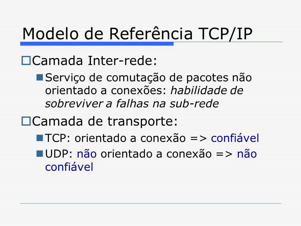  Camada Inter-rede: Serviço de comutação de pacotes não orientado a conexões: habilidade de sobreviver a falhas na sub-rede  Camada de transporte: TCP: orientado a conexão => confiável UDP: não orientado a conexão => não confiável