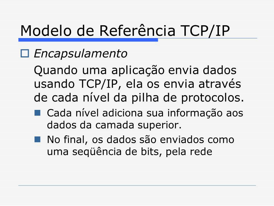  Encapsulamento Quando uma aplicação envia dados usando TCP/IP, ela os envia através de cada nível da pilha de protocolos. Cada nível adiciona sua in