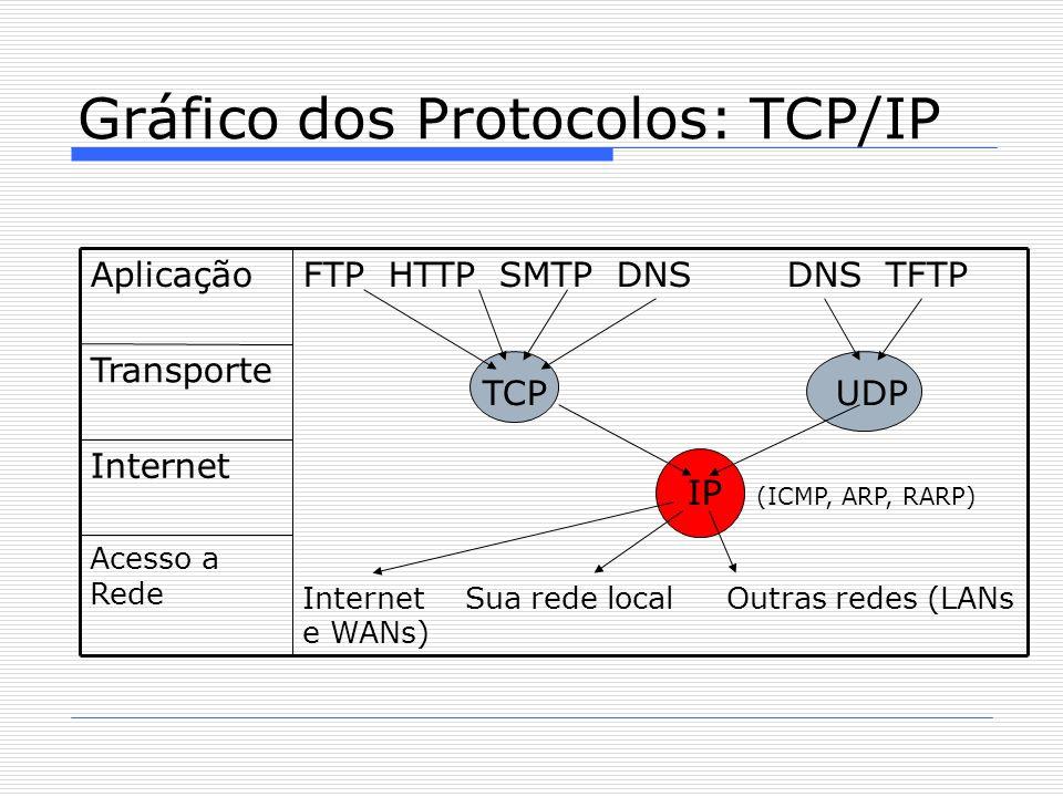 Gráfico dos Protocolos: TCP/IP Acesso a Rede Internet Transporte FTP HTTP SMTP DNS DNS TFTP TCP UDP IP (ICMP, ARP, RARP)  Internet Sua rede local Outras redes (LANs e WANs)  Aplicação