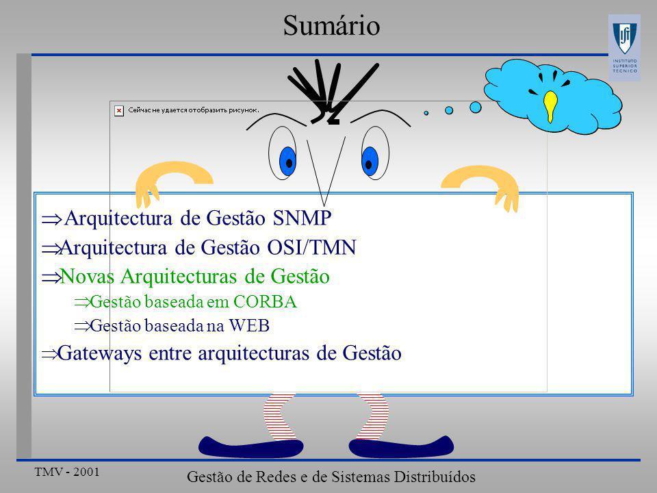 TMV - 2001 Gestão de Redes e de Sistemas Distribuídos ???? Sumário  Arquitectura de Gestão SNMP  Arquitectura de Gestão OSI/TMN  Novas Arquitectura