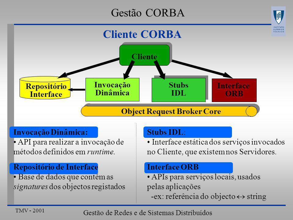 TMV - 2001 Gestão de Redes e de Sistemas Distribuídos Cliente CORBA Stubs IDL: Interface estática dos serviços invocados no Cliente, que existem nos Servidores.