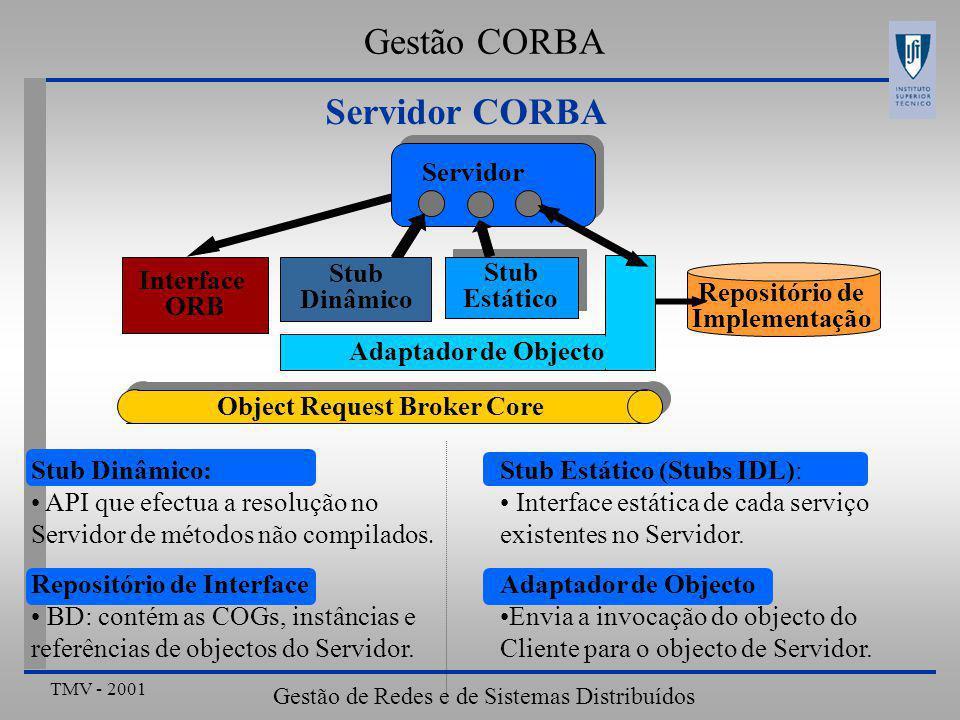 TMV - 2001 Gestão de Redes e de Sistemas Distribuídos Servidor CORBA Stub Estático (Stubs IDL): Interface estática de cada serviço existentes no Servidor.