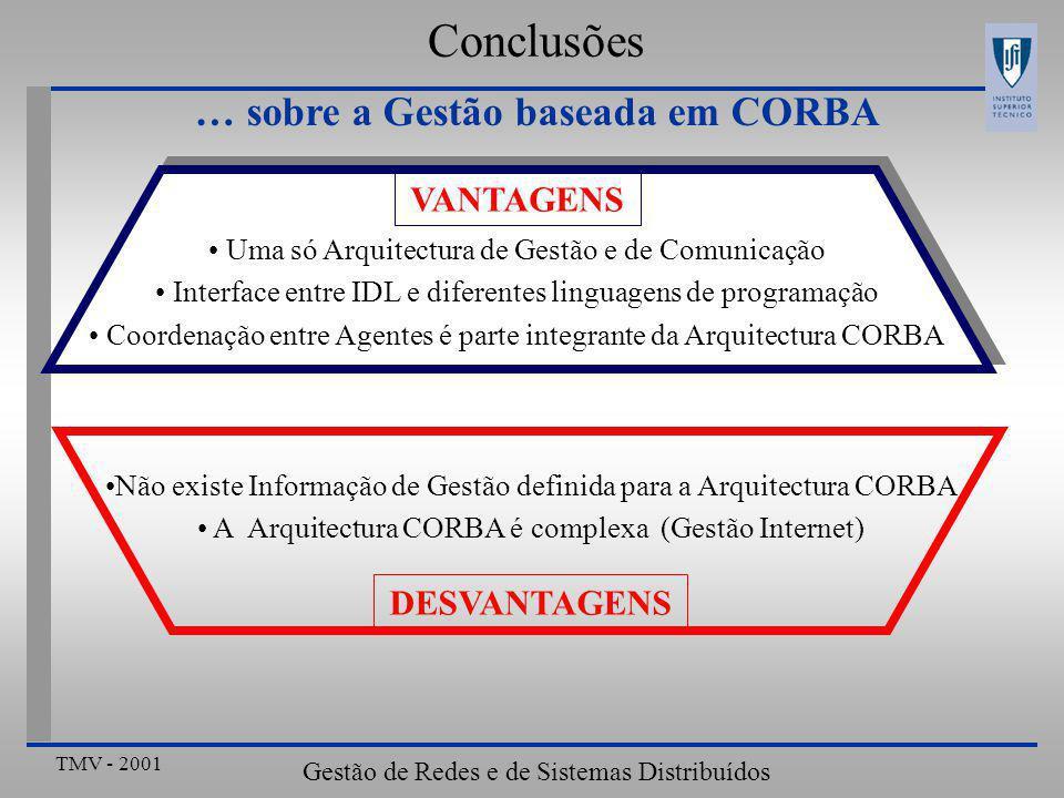 TMV - 2001 Gestão de Redes e de Sistemas Distribuídos Conclusões … sobre a Gestão baseada em CORBA Não existe Informação de Gestão definida para a Arquitectura CORBA A Arquitectura CORBA é complexa (Gestão Internet) DESVANTAGENS Uma só Arquitectura de Gestão e de Comunicação Interface entre IDL e diferentes linguagens de programação Coordenação entre Agentes é parte integrante da Arquitectura CORBA VANTAGENS