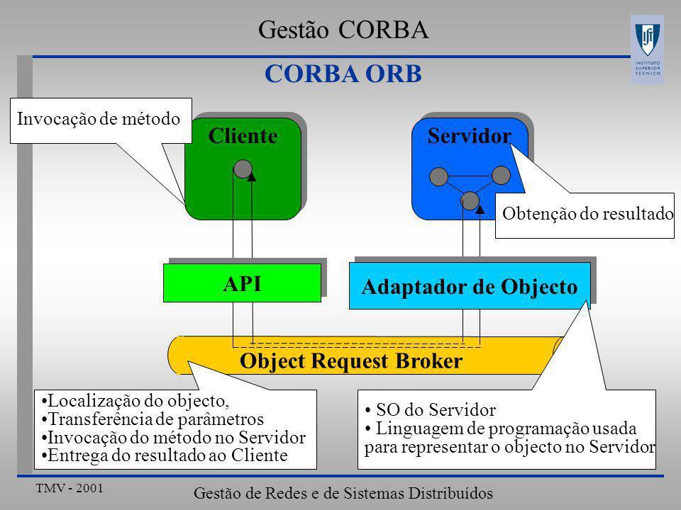 TMV - 2001 Gestão de Redes e de Sistemas Distribuídos ClienteServidor Object Request Broker API Adaptador de Objecto Invocação de método Localização do objecto, Transferência de parâmetros Invocação do método no Servidor Entrega do resultado ao Cliente SO do Servidor Linguagem de programação usada para representar o objecto no Servidor Obtenção do resultado CORBA ORB Gestão CORBA