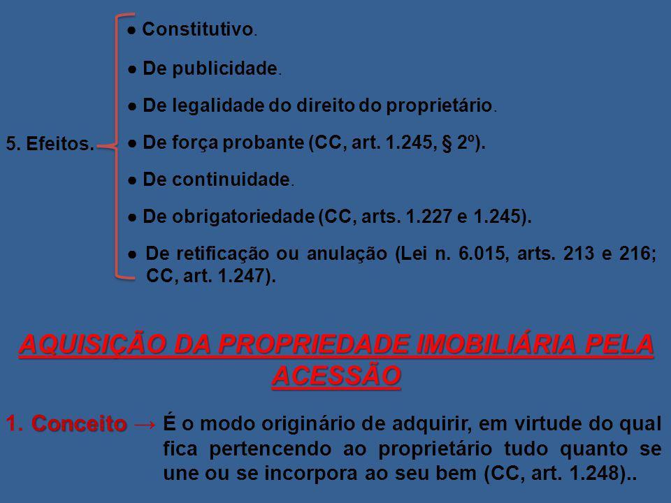 5. Efeitos. ● Constitutivo. ● De publicidade. ● De legalidade do direito do proprietário. ● De força probante (CC, art. 1.245, § 2º). ● De continuidad
