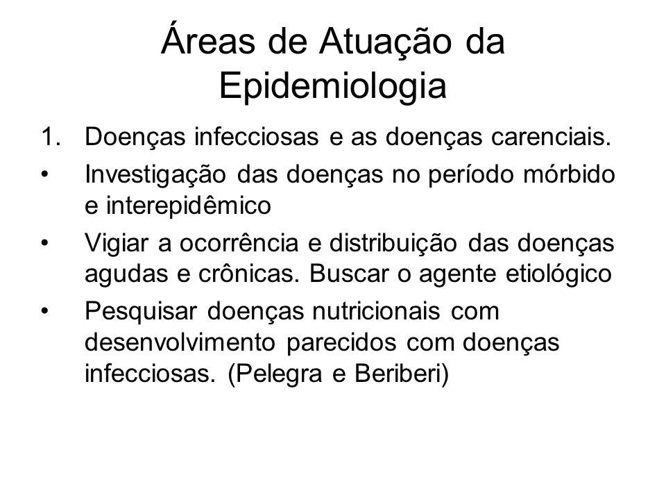 Áreas de Atuação da Epidemiologia 1.Doenças infecciosas e as doenças carenciais. Investigação das doenças no período mórbido e interepidêmico Vigiar a