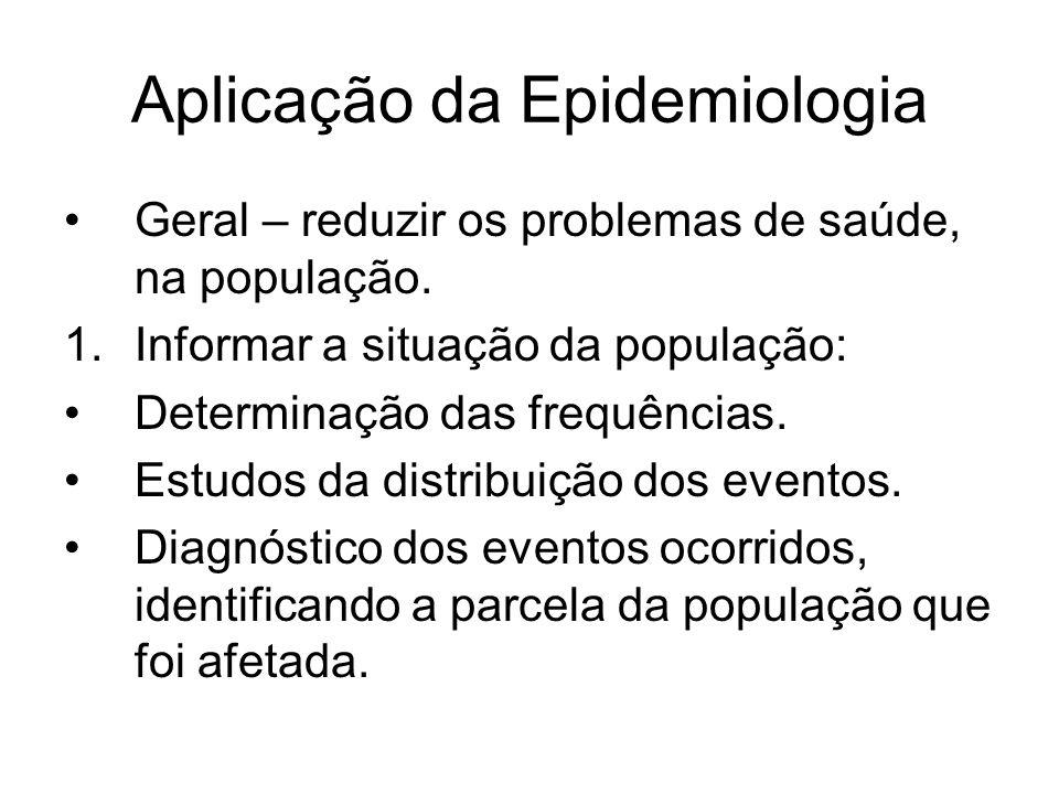 Aplicação da Epidemiologia Geral – reduzir os problemas de saúde, na população. 1.Informar a situação da população: Determinação das frequências. Estu