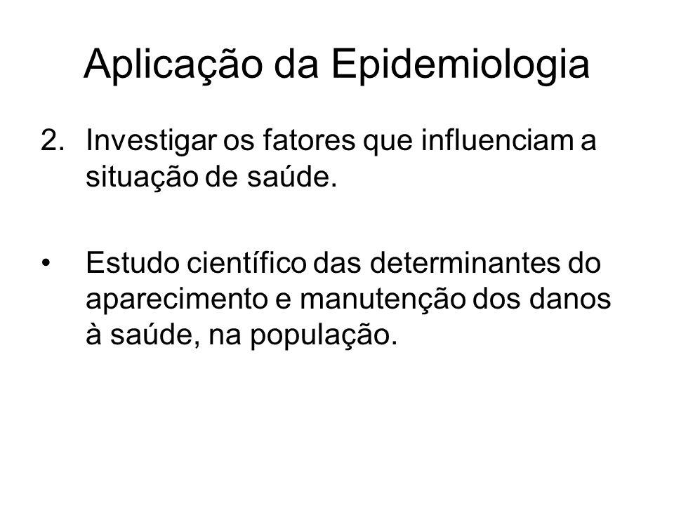 Aplicação da Epidemiologia 2.Investigar os fatores que influenciam a situação de saúde. Estudo científico das determinantes do aparecimento e manutenç