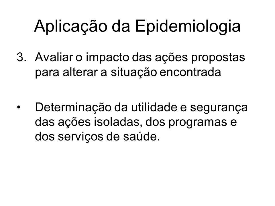 Aplicação da Epidemiologia 3.Avaliar o impacto das ações propostas para alterar a situação encontrada Determinação da utilidade e segurança das ações isoladas, dos programas e dos serviços de saúde.
