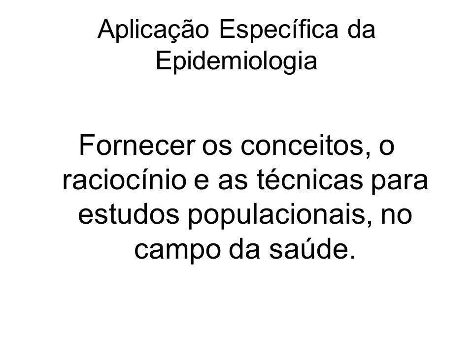 Aplicação Específica da Epidemiologia Fornecer os conceitos, o raciocínio e as técnicas para estudos populacionais, no campo da saúde.