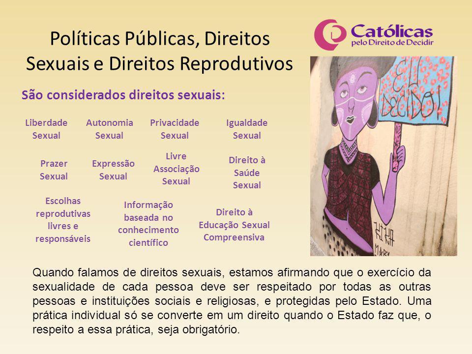 Políticas Públicas, Direitos Sexuais e Direitos Reprodutivos São considerados direitos sexuais: Liberdade Sexual Autonomia Sexual Privacidade Sexual I