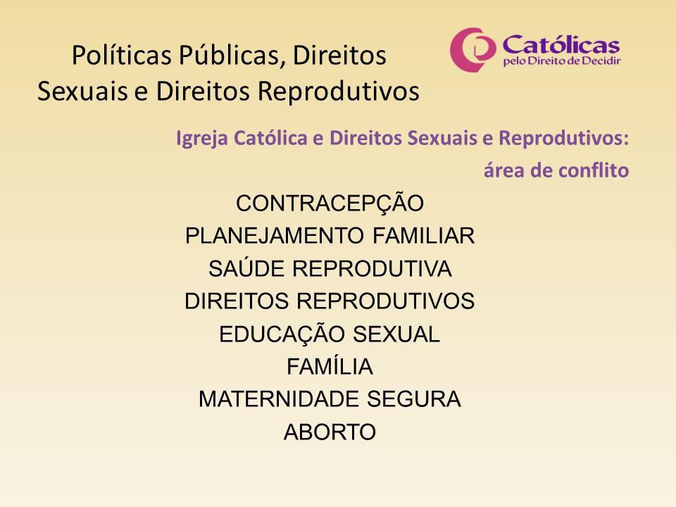 Políticas Públicas, Direitos Sexuais e Direitos Reprodutivos Igreja Católica e Direitos Sexuais e Reprodutivos: área de conflito CONTRACEPÇÃO PLANEJAMENTO FAMILIAR SAÚDE REPRODUTIVA DIREITOS REPRODUTIVOS EDUCAÇÃO SEXUAL FAMÍLIA MATERNIDADE SEGURA ABORTO