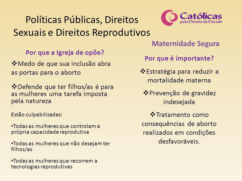 Políticas Públicas, Direitos Sexuais e Direitos Reprodutivos Maternidade Segura Por que é importante?  Estratégia para reduzir a mortalidade materna