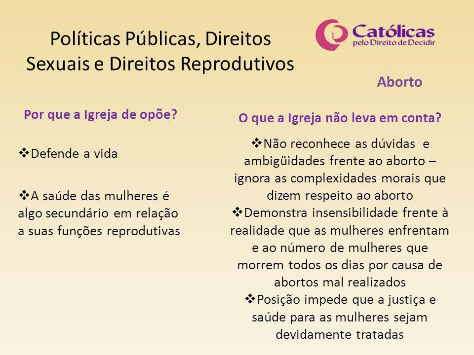 Políticas Públicas, Direitos Sexuais e Direitos Reprodutivos Aborto O que a Igreja não leva em conta?  Não reconhece as dúvidas e ambigüidades frente