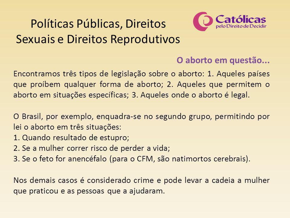 Políticas Públicas, Direitos Sexuais e Direitos Reprodutivos O aborto em questão... Encontramos três tipos de legislação sobre o aborto: 1. Aqueles pa