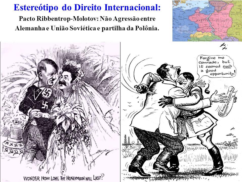 Estereótipo do Direito Internacional: Pacto Ribbentrop-Molotov: Não Agressão entre Alemanha e União Soviética e partilha da Polônia.
