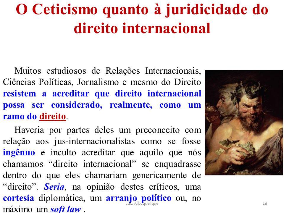 O Ceticismo quanto à juridicidade do direito internacional Muitos estudiosos de Relações Internacionais, Ciências Políticas, Jornalismo e mesmo do Dir