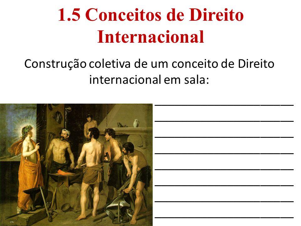1.5 Conceitos de Direito Internacional Construção coletiva de um conceito de Direito internacional em sala: _____________________ ____________________