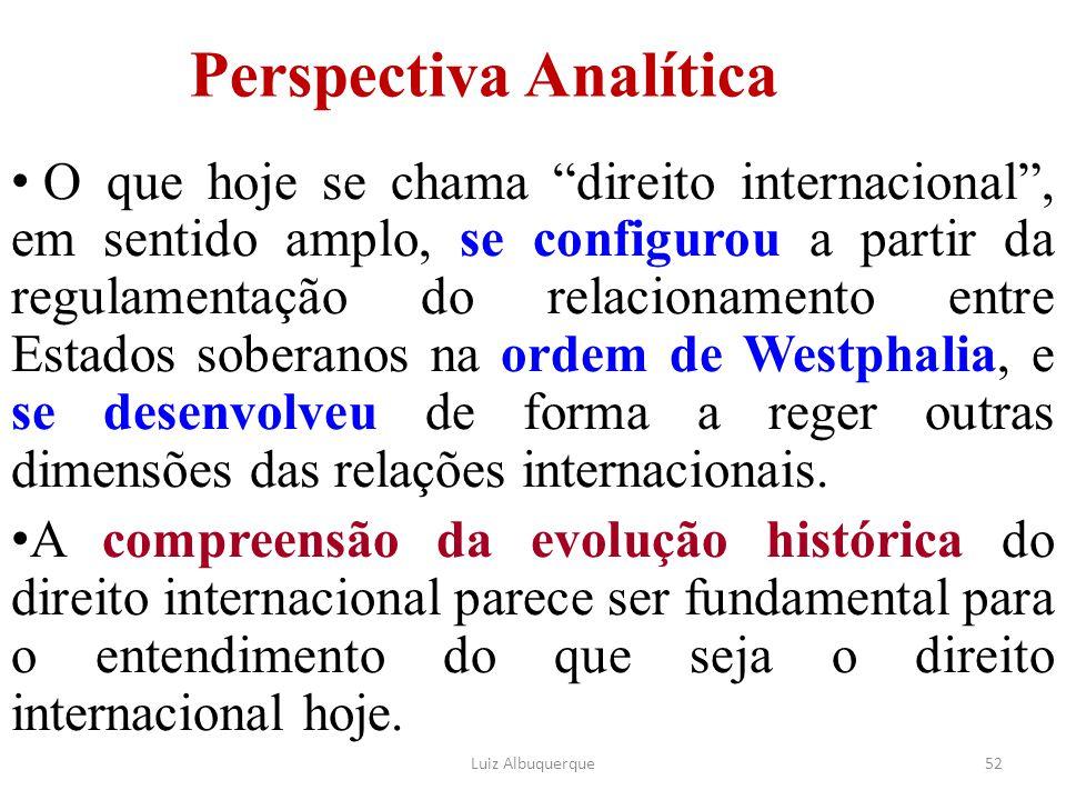 """52 Perspectiva Analítica O que hoje se chama """"direito internacional"""", em sentido amplo, se configurou a partir da regulamentação do relacionamento ent"""