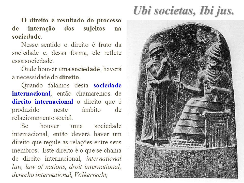 Ubi societas, Ibi jus. O direito é resultado do processo de interação dos sujeitos na sociedade. Nesse sentido o direito é fruto da sociedade e, dessa
