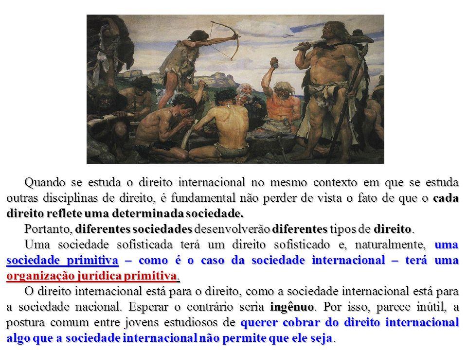 Quando se estuda o direito internacional no mesmo contexto em que se estuda outras disciplinas de direito, é fundamental não perder de vista o fato de