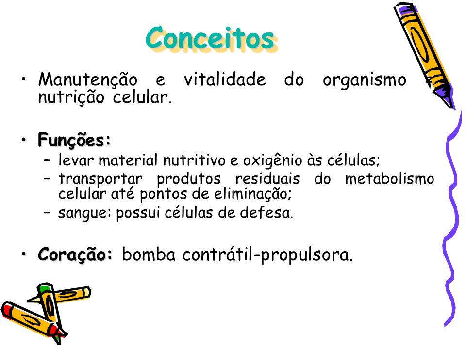 ConceitosConceitos Manutenção e vitalidade do organismo = nutrição celular. Funções:Funções: –levar material nutritivo e oxigênio às células; –transpo