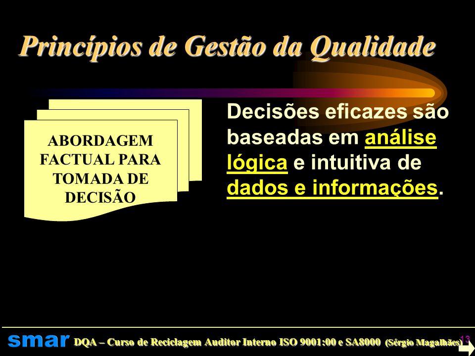 DQA – Curso de Reciclagem Auditor Interno ISO 9001:00 e SA8000 (Sérgio Magalhães) 12 MELHORIA CONTÍNUA Melhoria contínua é um objetivo permanente da o