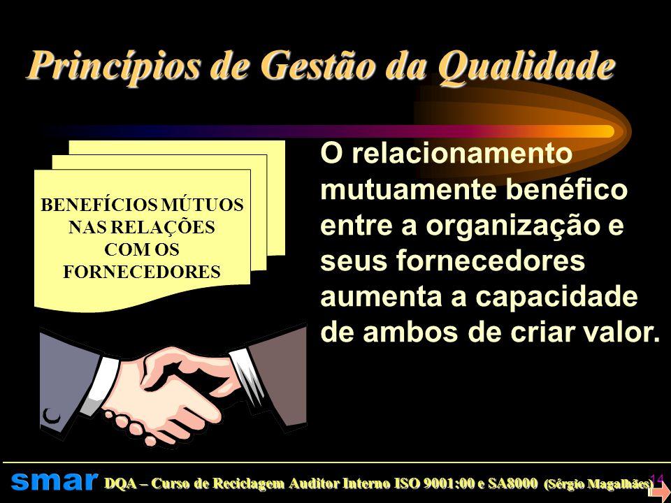 DQA – Curso de Reciclagem Auditor Interno ISO 9001:00 e SA8000 (Sérgio Magalhães) 13 ABORDAGEM FACTUAL PARA TOMADA DE DECISÃO Decisões eficazes são ba