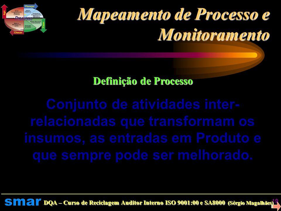 DQA – Curso de Reciclagem Auditor Interno ISO 9001:00 e SA8000 (Sérgio Magalhães) 18 Indicador e Índice Representam o padrão de medida ou unidade de m
