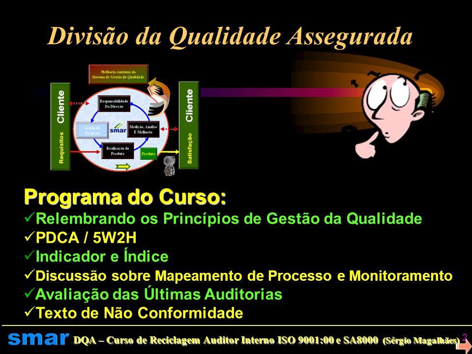 DQA – Curso de Reciclagem Auditor Interno ISO 9001:00 e SA8000 (Sérgio Magalhães) 1 Divisão da Qualidade Assegurada Departamento da Qualidade Curso de