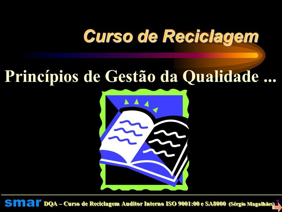 DQA – Curso de Reciclagem Auditor Interno ISO 9001:00 e SA8000 (Sérgio Magalhães) 2 Divisão da Qualidade Assegurada Programa do Curso: Relembrando os