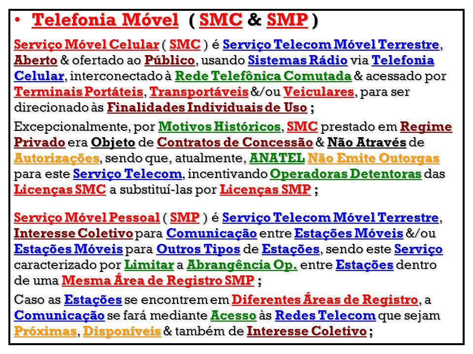 Telefonia Móvel(SMC&SMP)Telefonia Móvel ( SMC & SMP ) Serviço Móvel Celular ( SMC ) é Serviço Telecom Móvel Terrestre, Aberto & ofertado ao Público, u