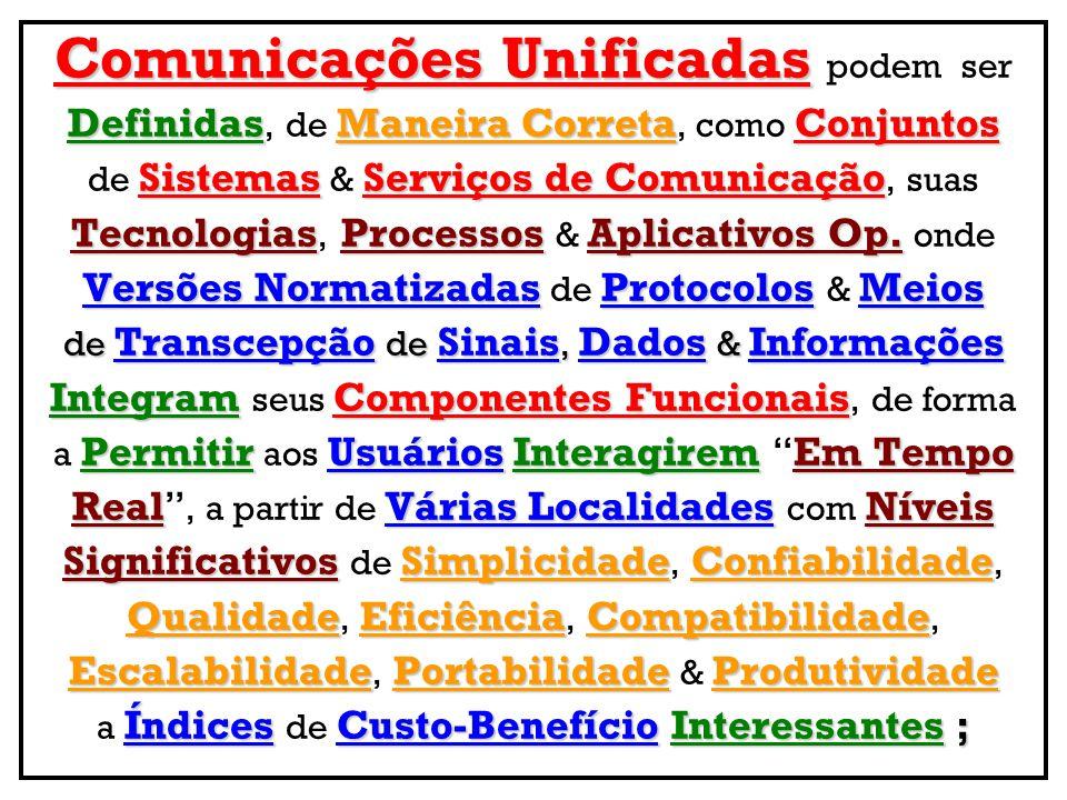 Comunicações Unificadas Comunicações Unificadas podem ser DefinidasManeira CorretaConjuntos Definidas, de Maneira Correta, como Conjuntos SistemasServ