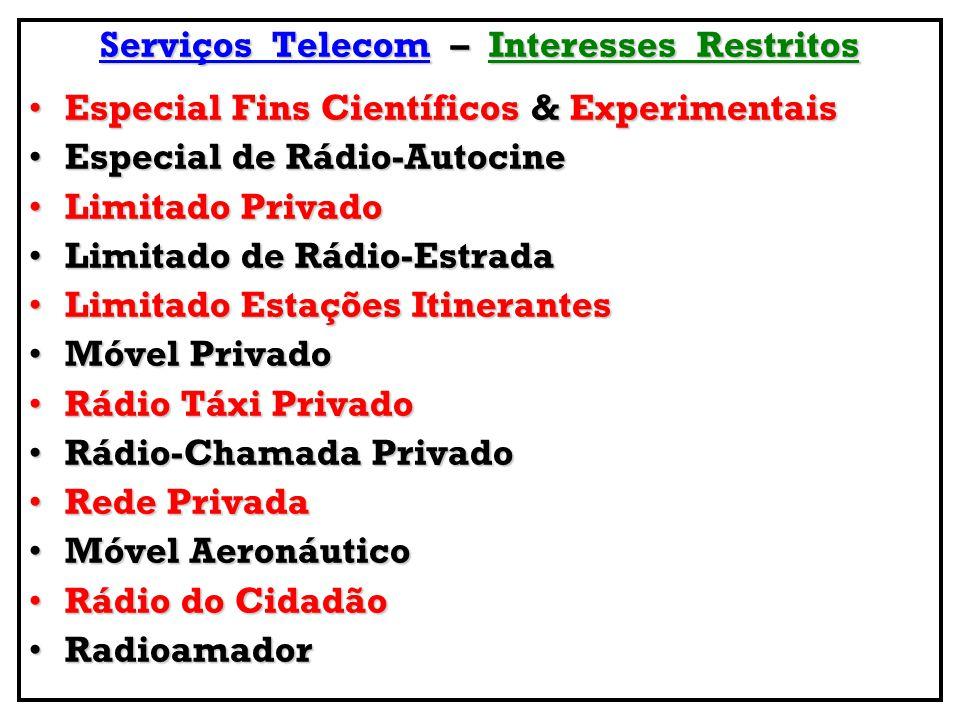 Serviços Telecom – Interesses Restritos Especial Fins Científicos & ExperimentaisEspecial Fins Científicos & Experimentais Especial de Rádio-AutocineE