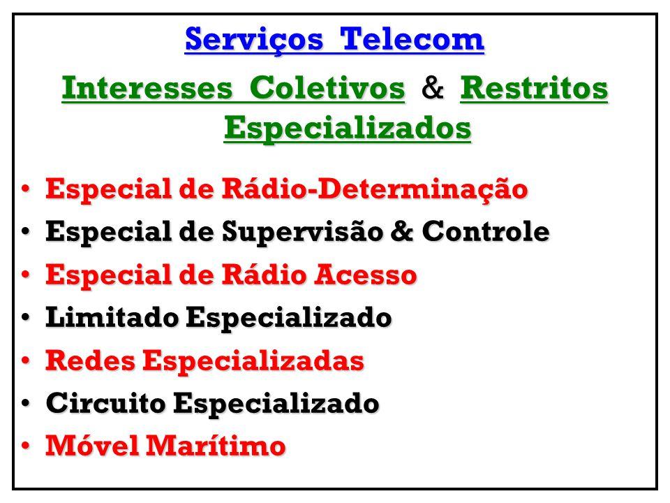 Serviços Telecom Relevantes SME - Serviço Móvel Especializado ( Trunking )SME - Serviço Móvel Especializado ( Trunking ) SER – Serviço Móvel Especial Radiochamada ( Paging )SER – Serviço Móvel Especial Radiochamada ( Paging ) SMGS – Serviço Móvel Global por Satélite ( Global SAT )SMGS – Serviço Móvel Global por Satélite ( Global SAT ) SRT - Serviço de Rádio-TáxiSRT - Serviço de Rádio-Táxi SMM - Serviço Móvel Marítimo ( Ship Stations )SMM - Serviço Móvel Marítimo ( Ship Stations ) STVA - Serviço de TV por Assinatura ( Cable TV / SAT TV )STVA - Serviço de TV por Assinatura ( Cable TV / SAT TV ) SRC – Serviço Rádio do Cidadão ( Faixa Cidadão )SRC – Serviço Rádio do Cidadão ( Faixa Cidadão ) SRA - Serviço RadioamadorSRA - Serviço Radioamador SPR - Serviço Público Restrito (FN, PM, SAMU, Bombeiros,...)SPR - Serviço Público Restrito (FN, PM, SAMU, Bombeiros,...) SRTT - Serviço de Rede de Transporte de TelecomSRTT - Serviço de Rede de Transporte de Telecom Sub-Modalidades: Serviço Especial de Repetição de Sinais de TV, Vídeo & Áudio, Serviço por Linha Dedicada Nacional & Internacional, Serviço de Rede Comutada & Comunicação de Textos – Telex ; SESP - Serviços Especiais - Atendimento às Necessidades TelecomSESP - Serviços Especiais - Atendimento às Necessidades Telecom de Interesse Geral, Não Abertos à Correspondência Pública, tais como Serviços para Fins Científicos, Experimentais &/ou Rádio Determinação ;