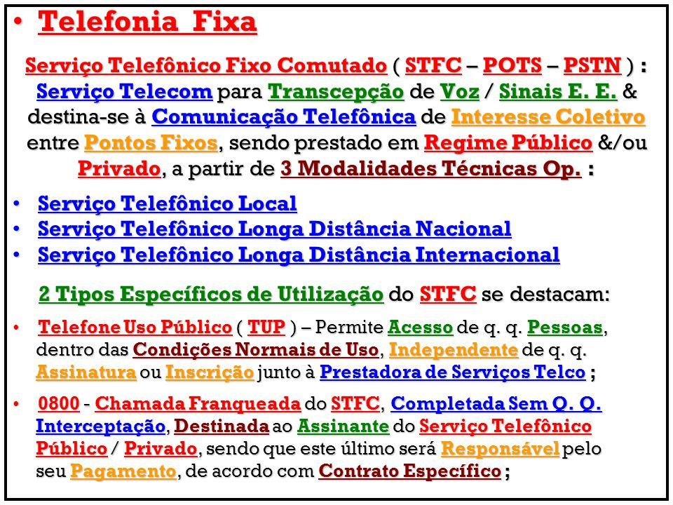 Telefonia FixaTelefonia Fixa Serviço Telefônico Fixo Comutado ( STFC – POTS – PSTN ) : Serviço Telecom para Transcepção de Voz / Sinais E. E. & destin