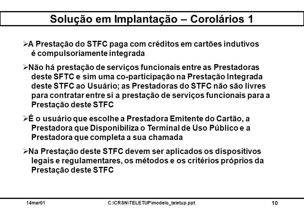 14mar01C:\CRSN\TELETUP\modelo_teletup.ppt 10 Solução em Implantação – Corolários 1  A Prestação do STFC paga com créditos em cartões indutivos é compulsoriamente integrada  Não há prestação de serviços funcionais entre as Prestadoras deste SFTC e sim uma co-participação na Prestação Integrada deste STFC ao Usuário; as Prestadoras do STFC não são livres para contratar entre si a prestação de serviços funcionais para a Prestação deste STFC  É o usuário que escolhe a Prestadora Emitente do Cartão, a Prestadora que Disponibiliza o Terminal de Uso Público e a Prestadora que completa a sua chamada  Na Prestação deste STFC devem ser aplicados os dispositivos legais e regulamentares, os métodos e os critérios próprios da Prestação deste STFC