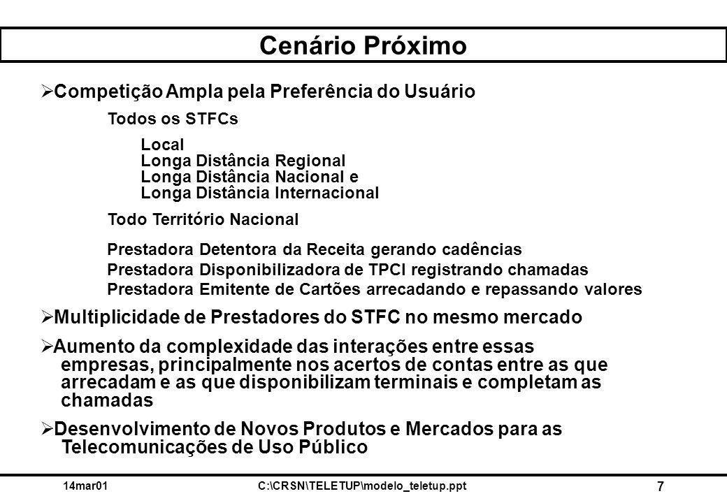 14mar01C:\CRSN\TELETUP\modelo_teletup.ppt 7 Cenário Próximo  Competição Ampla pela Preferência do Usuário Todos os STFCs Local Longa Distância Region