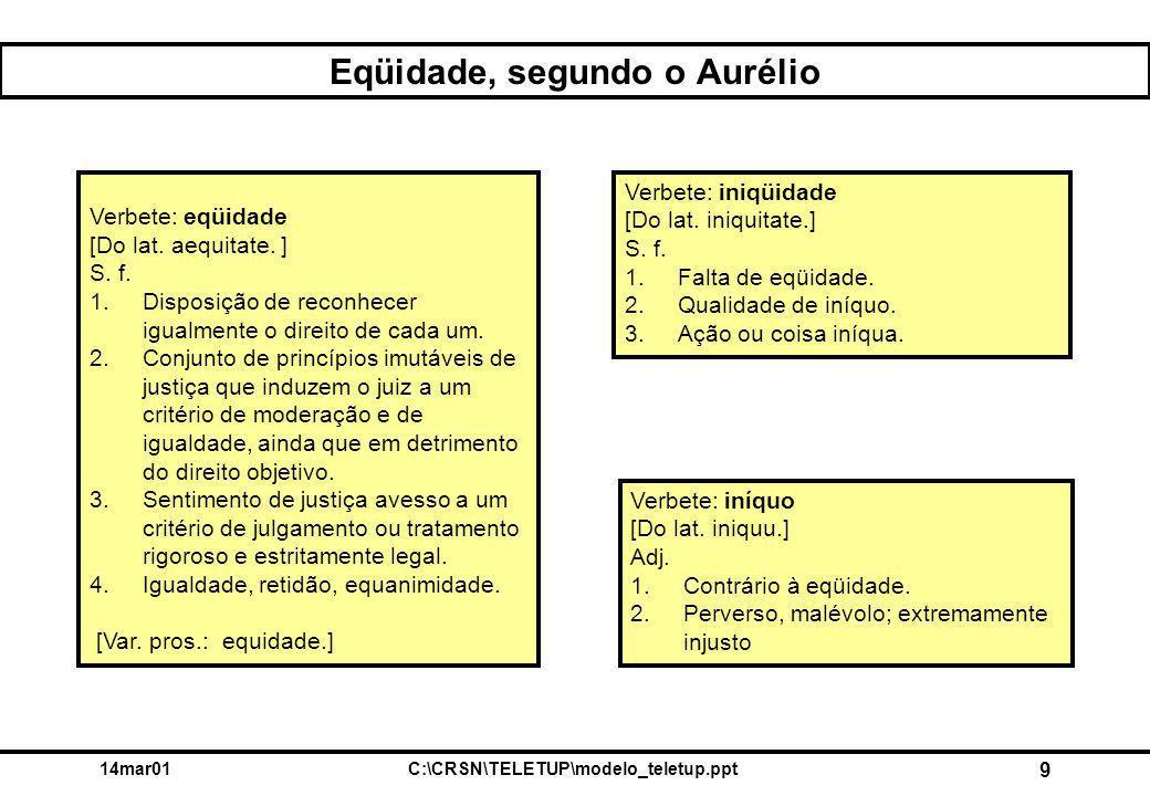 14mar01C:\CRSN\TELETUP\modelo_teletup.ppt 9 Eqüidade, segundo o Aurélio Verbete: eqüidade [Do lat. aequitate. ] S. f. 1.Disposição de reconhecer igual