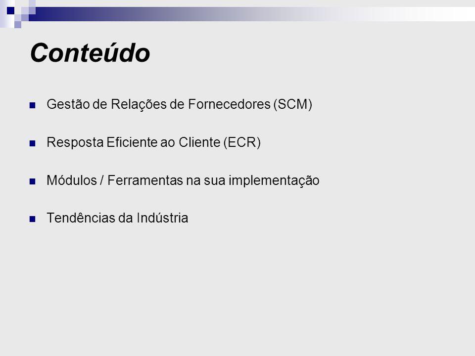 Conteúdo Gestão de Relações de Fornecedores (SCM) Resposta Eficiente ao Cliente (ECR) Módulos / Ferramentas na sua implementação Tendências da Indústria