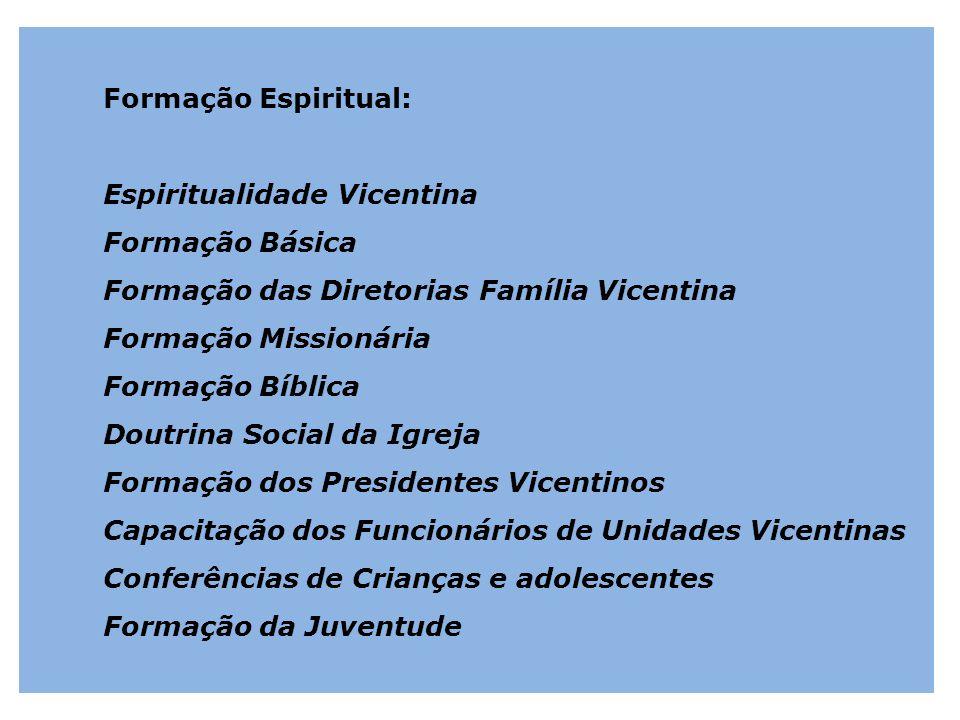Formação Espiritual: Espiritualidade Vicentina Formação Básica Formação das Diretorias Família Vicentina Formação Missionária Formação Bíblica Doutrin