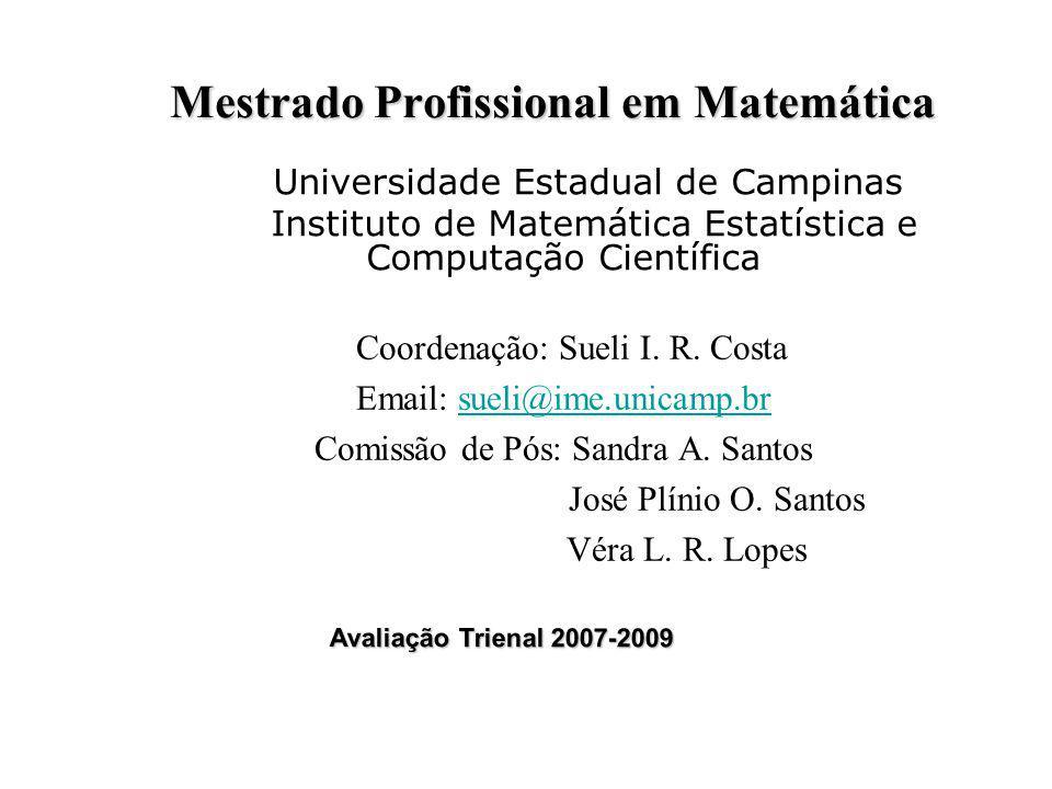 Mestrado Profissional em Matemática Coordenação: Sueli I. R. Costa Email: sueli@ime.unicamp.brsueli@ime.unicamp.br Comissão de Pós: Sandra A. Santos J
