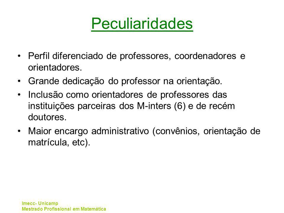 Imecc- Unicamp Mestrado Profissional em Matemática Peculiaridades Perfil diferenciado de professores, coordenadores e orientadores. Grande dedicação d