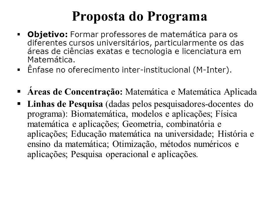 Proposta do Programa  Objetivo: Formar professores de matemática para os diferentes cursos universitários, particularmente os das áreas de ciências exatas e tecnologia e licenciatura em Matemática.