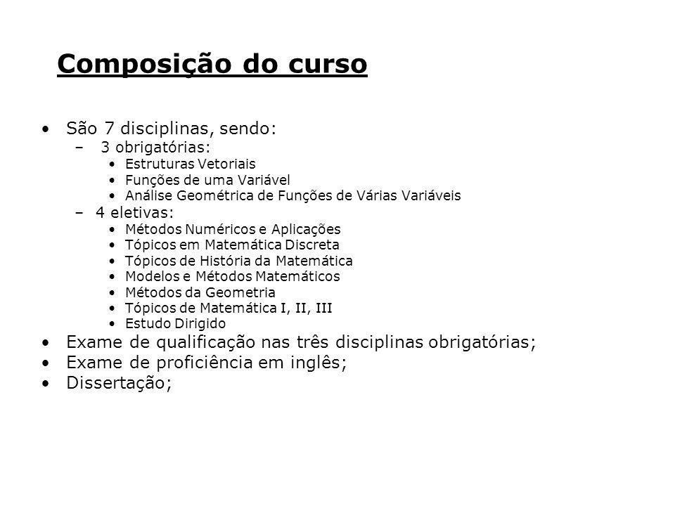 Composição do curso São 7 disciplinas, sendo: – 3 obrigatórias: Estruturas Vetoriais Funções de uma Variável Análise Geométrica de Funções de Várias V