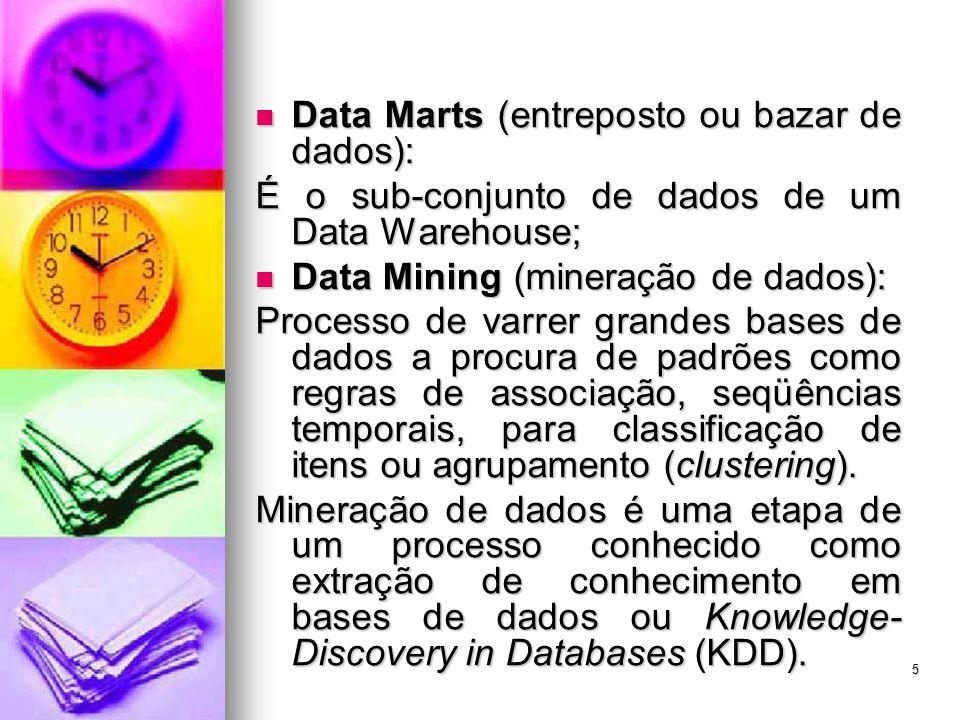 5 Data Marts (entreposto ou bazar de dados): Data Marts (entreposto ou bazar de dados): É o sub-conjunto de dados de um Data Warehouse; Data Mining (mineração de dados): Data Mining (mineração de dados): Processo de varrer grandes bases de dados a procura de padrões como regras de associação, seqüências temporais, para classificação de itens ou agrupamento (clustering).