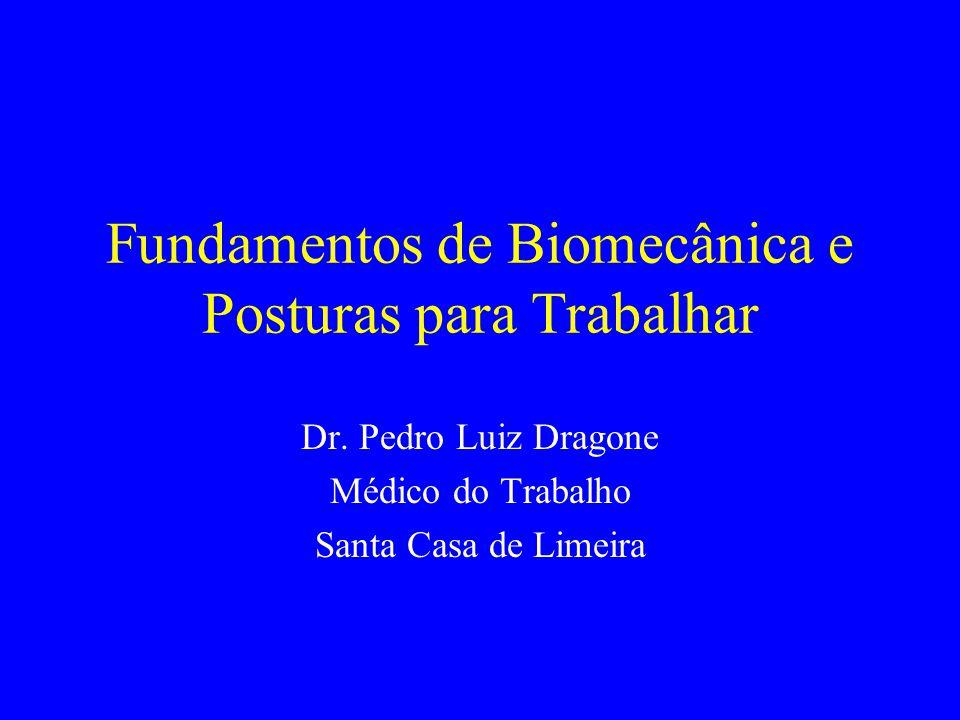 Fundamentos de Biomecânica e Posturas para Trabalhar Dr. Pedro Luiz Dragone Médico do Trabalho Santa Casa de Limeira
