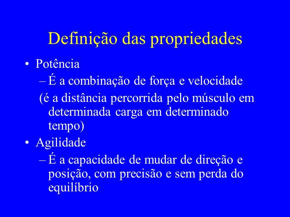 Definição das propriedades Potência –É a combinação de força e velocidade (é a distância percorrida pelo músculo em determinada carga em determinado t